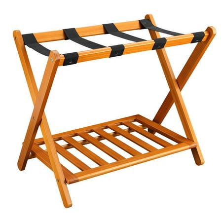 Luggage Rack with Shelf - Honey Oak