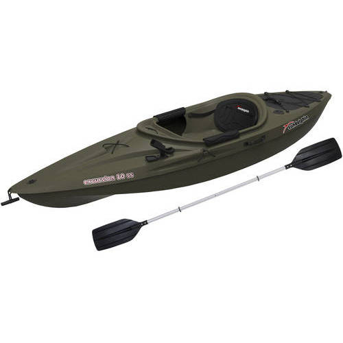 Sun Dolphin Excursion 10 SS Sit In Angler Kayak Olive, Paddle Included