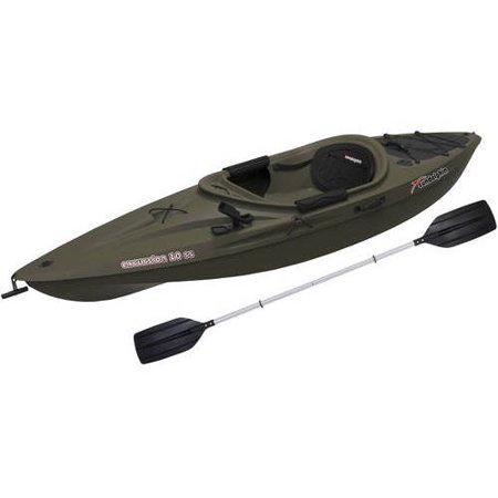 Sun Dolphin Excursion 10 SS Sit In Angler Kayak Olive, Paddle (35384 Dolphin)