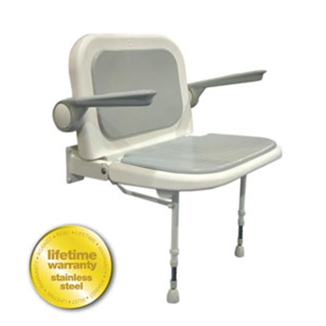 ARC Inc 04240P 4000 Series Shower Seat Wide Padded with Back and Arms - Gray - 27. 75 Inch W