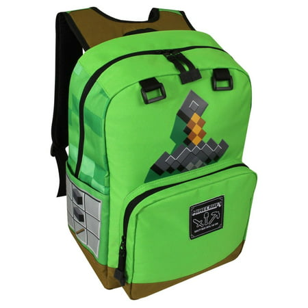 Jinx Minecraft 17 inch Green Sword Backpack With Laptop Sleeve Back