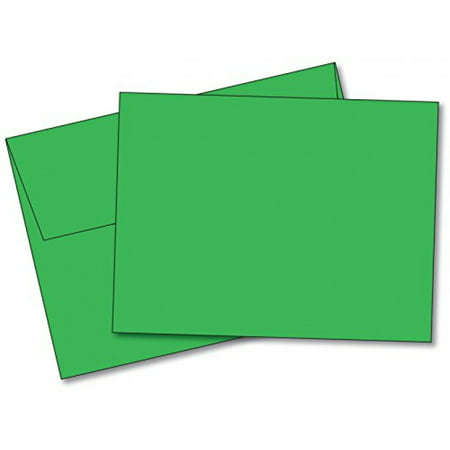 Blank Color Note Cards Uncoated, 4 1/2 X 6 Inches Cards - 40 Cards and Envelopes - (These Are NOT Fold Over Cards) (Green)