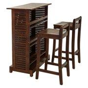 3-Pc Wooden Bar Set