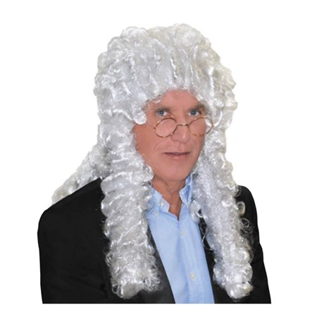White Judge Wig Courtroom Aaron Judge Chambers Fan Costume Barrister Court Adult - image 1 of 1