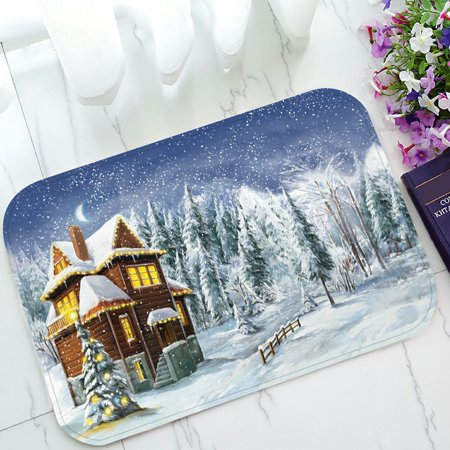 PHFZK Festival Doormat, Christmas Winter Happy Scene Doormat Outdoors/Indoor Doormat Home Floor Mats Rugs Size 23.6x15.7 (Best Winter Floor Mats)