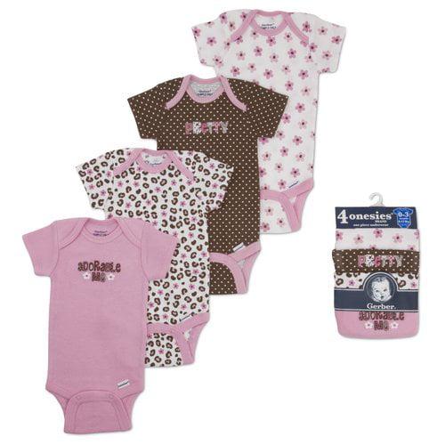 Gerber Onesies Brand Baby Girls' 4-Pack Variety Short Sleeve 1-piece Underwear