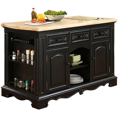 Pekelo Kitchen Island, Black and Natural