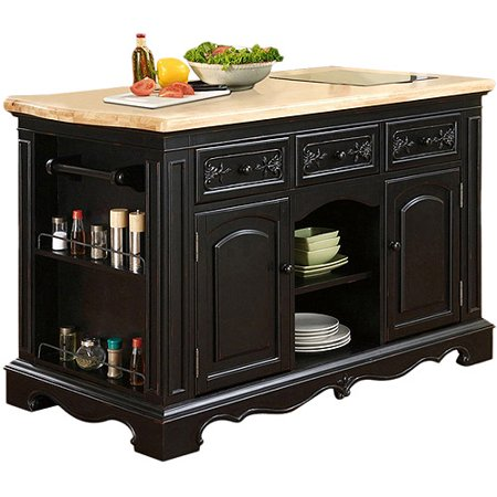 Pekelo kitchen island black and natural for Kitchen 919 reviews