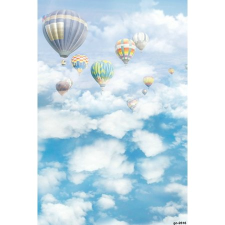 HelloDecor Polyster 5x7ft Photography Backdrop Blue Sky and White Clouds Background Hot Air Balloon without Crease Backdrop for - Sky Clouds Background