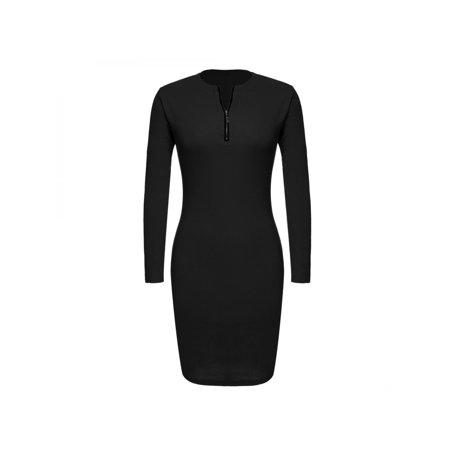 Ladies Women Career Long Sleeve Stretch Bodycon Slim Dress Sppyy
