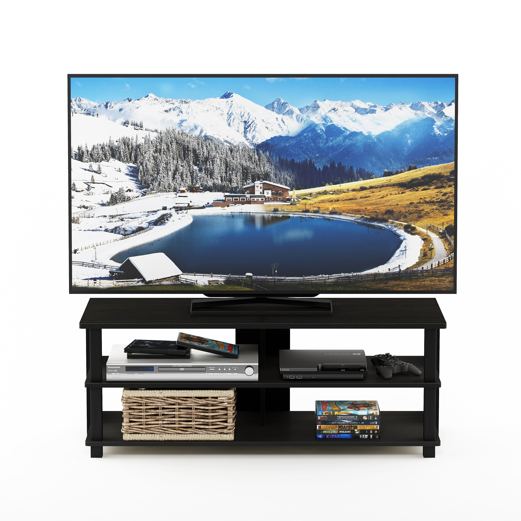 Furinno Sully 3-Tier TV Stand for TV up to 50, Espresso/Black, 17077EX/BK