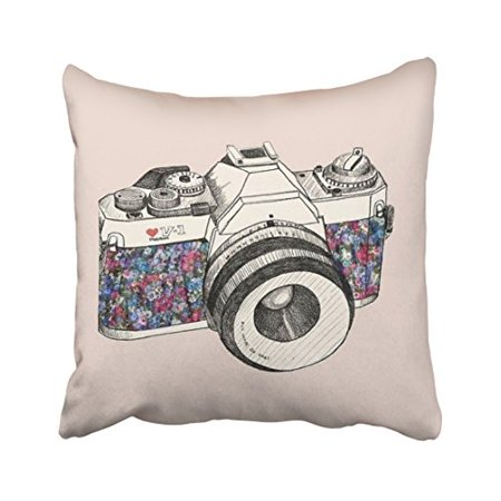 WinHome Vintage Hand Drawing Camera Sketch Pillow Cover With Hidden Zipper Decor Cushion Two Sides 20x20