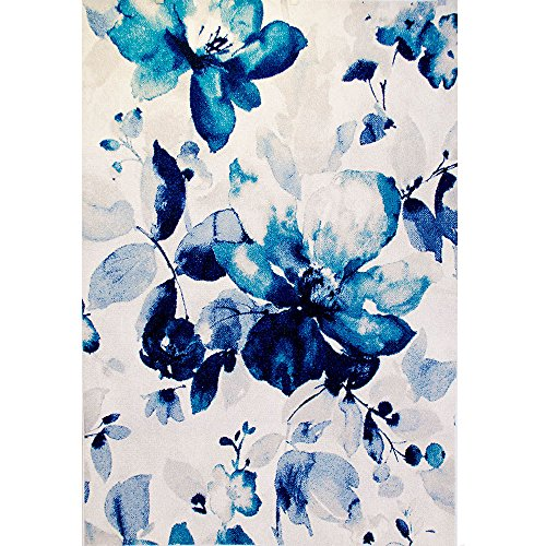 "Home Dynamix Blue Watercolored Blossoms 5'2"" X 7'2"""
