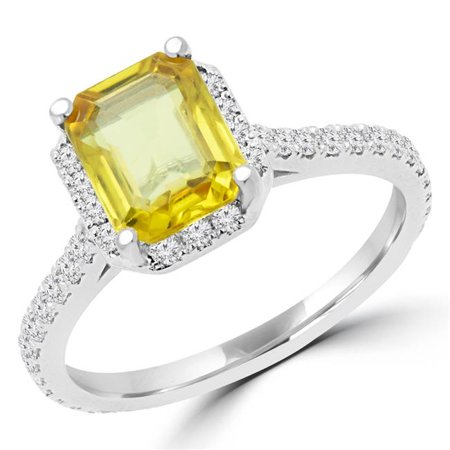 4852cbf473b94 MD170142-8.5 2.25 CTW Radiant Yellow Sapphire Halo Cocktail Ring in 14K  White Gold - 8.5