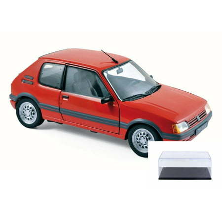 Diecast Car & Display Case Package - 1988 Peugeot 205 GTi 1.6 Coupe, Vellelunga Red - Norev 184853 - 1/18 Scale Diecast Model Toy Car w/Display Case
