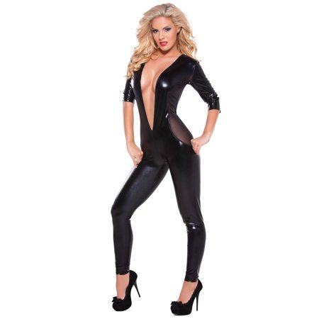 Allure Womens Kitten Mesh Catsuit - One Size - Black Catsuit