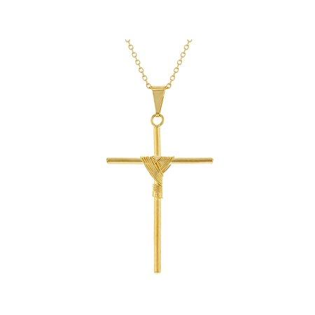 18k Gold Plated Stick Knot Christian Catholic Cross Pendant Necklace Unisex 19