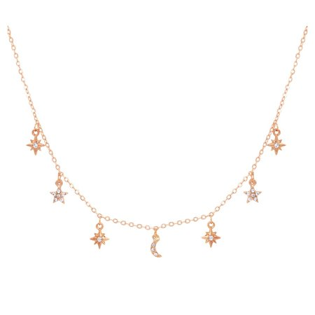 Pave Moon & Stars Choker Necklace, Gold