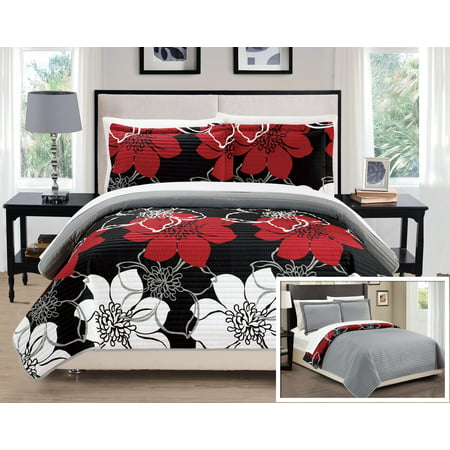 Chic Home 7-Piece Chase Abstract Large Scale Floral Printed King Quilt Set Black Sheets Included