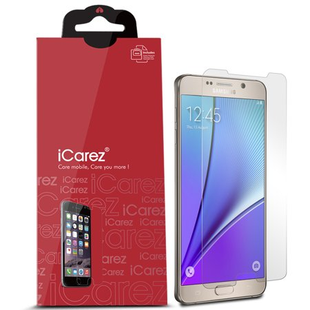 iCarez [HD Clear] for Samsung Galaxy Note 5 [Unique Hinge Install Method With Kits ] Easy Install with Lifetime Replacement Warranty [3-Pack] - Retail Packaging ()