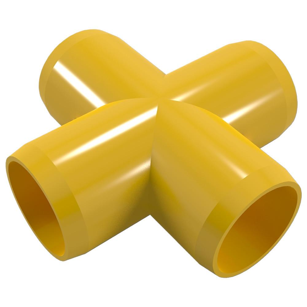 """PVC Cross Fitting, Furniture Grade, 1"""" Size, White (Pack of 4)"""