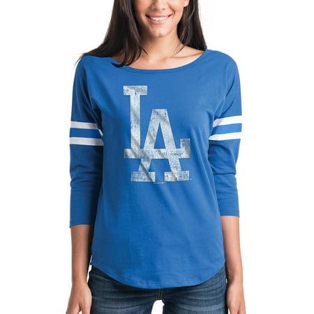 La Dodgers Short Sleeve Shirt - Women's New Era Royal Los Angeles Dodgers Scoop Neck 3/4-Sleeve T-Shirt