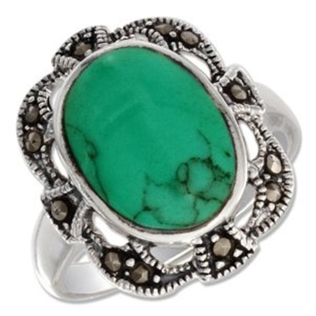 Plum Island Silver P-011436-06 Sterling Silver Oval Turquoise with Filigree Marcasite Border Ring - Size 6