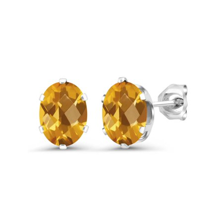 Yellow Checkerboard (2.50 Ct Oval Checkerboard 8x6mm Yellow Citrine 925 Sterling Silver Stud)