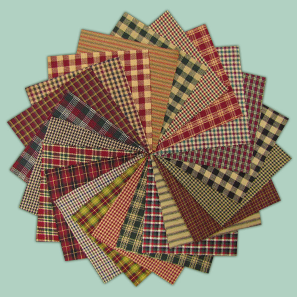 40 Rustic Christmas Homespun 6 inch Quilt Squares Charm Pack by JCS Fabric