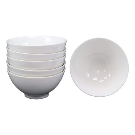 Ebros Gift Restaurant Supply Contemporary White Double Walled Porcelain Rice Bowls 8oz 4.5