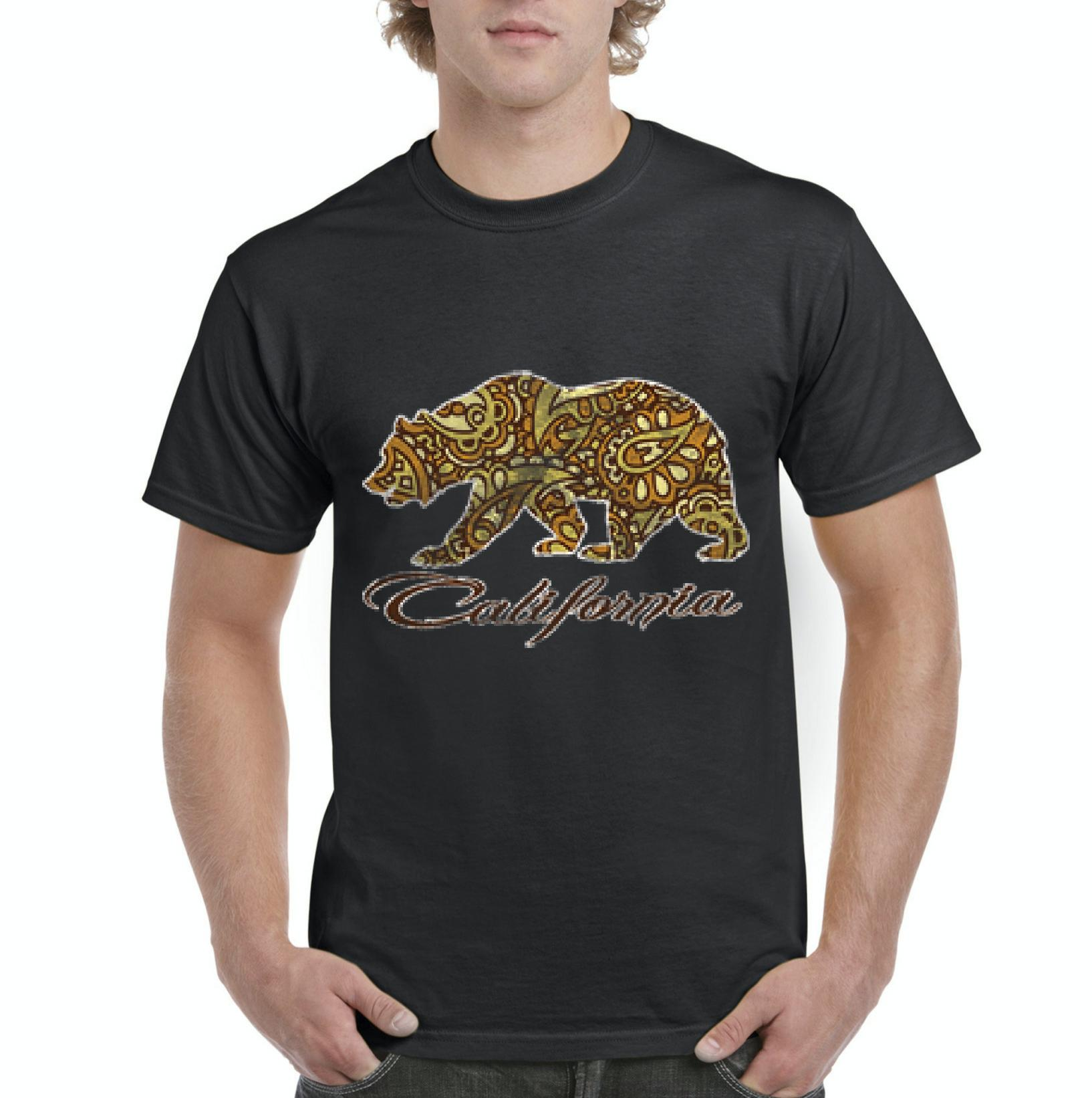 J_H_I Paisley California Bear Gift for Santa Monica Venice Beach Surfer CA USA Mens Shirts