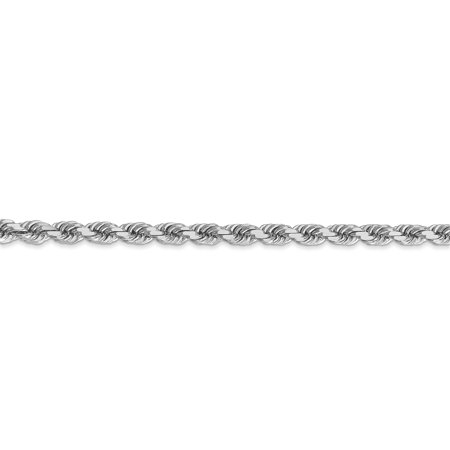 14K White Gold 4mm Diamond Cut Rope Chain Bracelet 8 IN - image 1 de 4