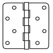 """EZ-Set RH4531 4"""" x 4"""" Plain Bearing 5/8"""" Radius Corner Mortise Hinge - Pair"""