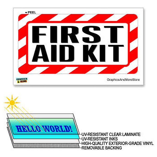 First Aid Kit - 12 in x 6 in - Laminated Sign Alert Warning Business Store Sticker