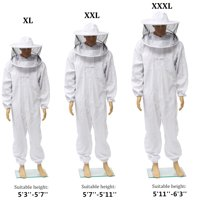 XL/2XL/3XL Professional Bee Suit Beekeeper Full Body Protection Beekeeping Jacket Smock with Removable Round Hat Veil