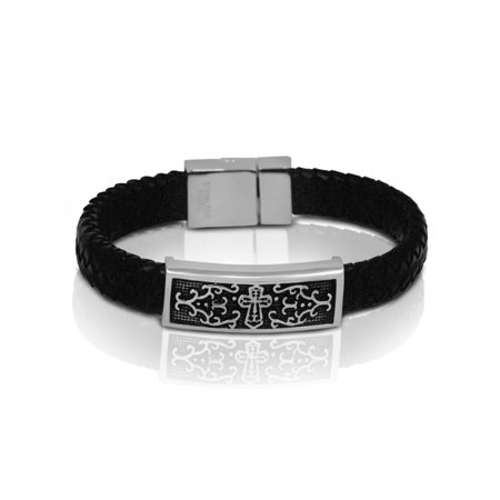 Braided Black Leather Mens Bracelet Carved Cross 8 7 Inch With Safe Hook 1 2