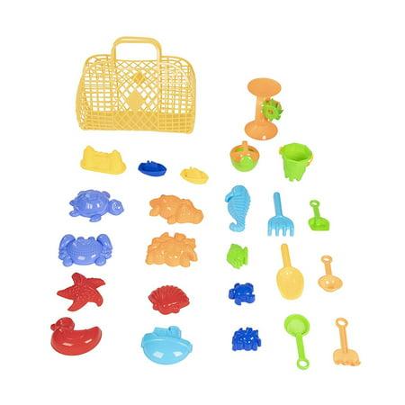 Sand Toys - 25-Pack Beach Toys for Kids, Toddlers Sandbox Play Set Includes Shovels, Rakes, Mold Models, Bucket, Sand Wheel, Basket, Best Gift for Children, Christmas Stocking Stuffer, Secret