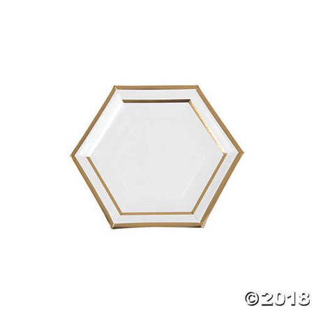 White Marble Dessert Paper Plates with Foil](Gold And White Paper Plates)