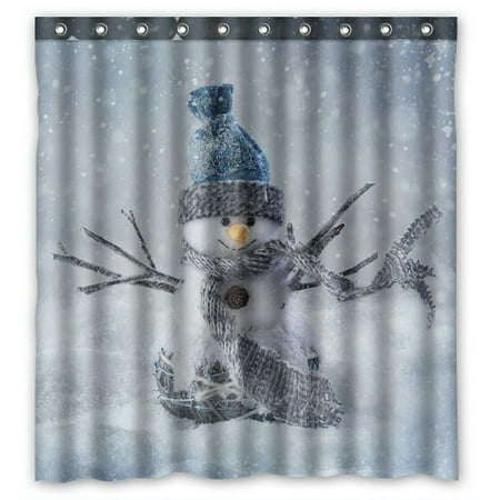 PHFZK Winter Holiday Shower Curtain, Cute Smiling Snowman Snowflake Christmas Polyester Fabric Bathroom Shower Curtain 66x72 inches - Holiday Shower Curtain