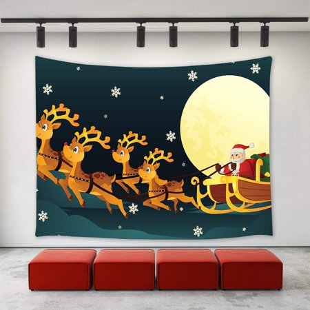 CADecor Christmas Decor Tapestry,Christmas Reindeer Santa Claus Sled Flying in the Moon Night Pattern Wall Decor Art New Year Tapestries ation 51x60 inchch - New Years Decor