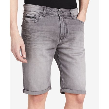 (Calvin Klein Jeans Men's Smoked Grey Slim Denim stretch Shorts)