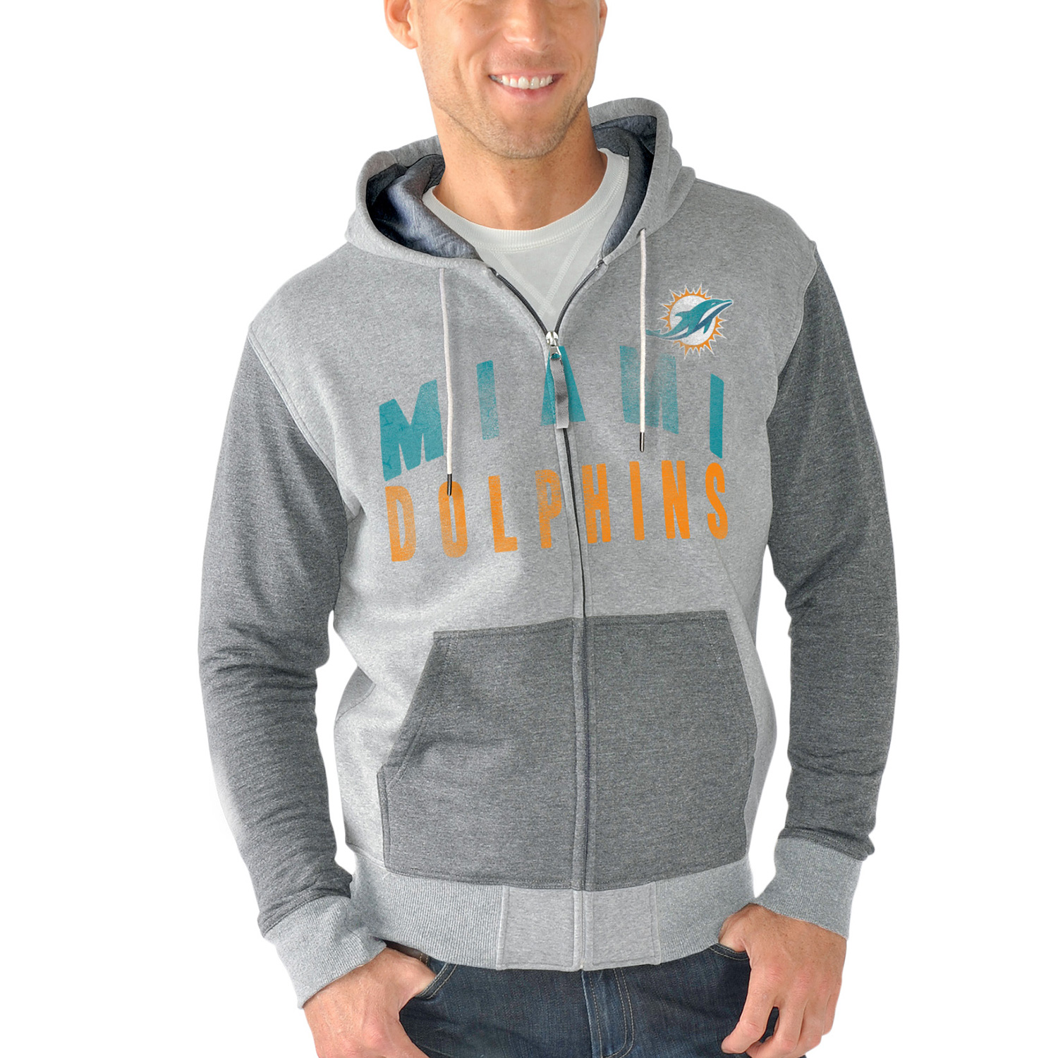 Miami Dolphins G-III Sports by Carl Banks Safety Tri-Blend Full-Zip Hoodie - Heathered Gray