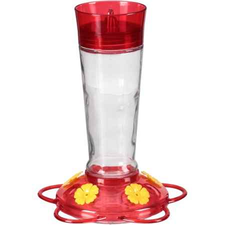 More Birds Hummingbird Feeder, 10- Ounce Nectar Capacity, Glass Bottle, Ruby