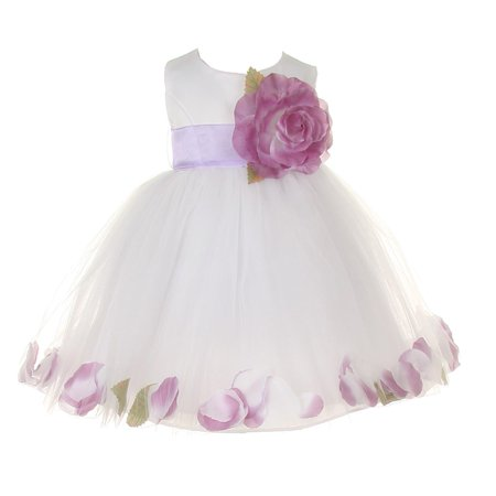 Baby Girls White Lilac Petal Adorned Satin Tulle Flower Girl Dress 6-24M - White Toddler Dress