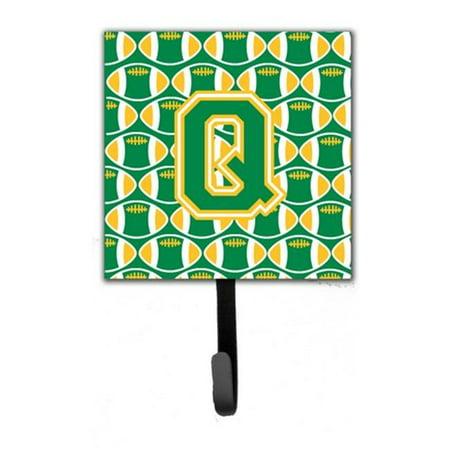 Carolines Treasures CJ1069-QSH4 Letter Q Football Green & Gold Leash or Key Holder - image 1 of 1