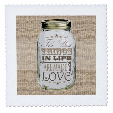 3dRose Mason Jar on Burlap Print Brown - The Best Things in Life are Made with Love - Gifts for the Cook - Quilt Square, 18 by (Best Way To Cook Brown Rice In A Rice Cooker)
