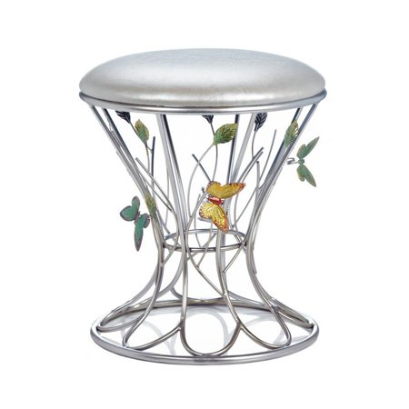 accent plus Round Stool, Metal Portable Outdoor Garden Butterfly Stool, (Iron Butterfly Metal Garden)