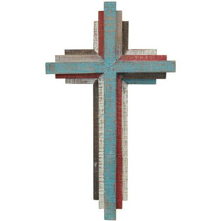 "14"" 3D Multicolor Wooden Wall Cross"