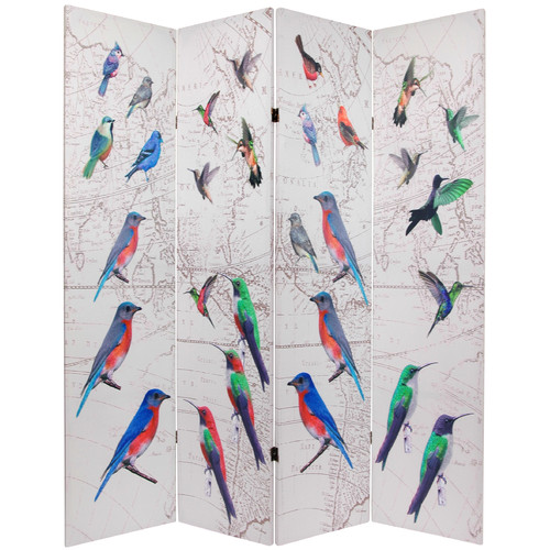 Oriental Furniture 71.25'' x 63'' Birds and Flowers Double Sided 4 Panel Room Divider
