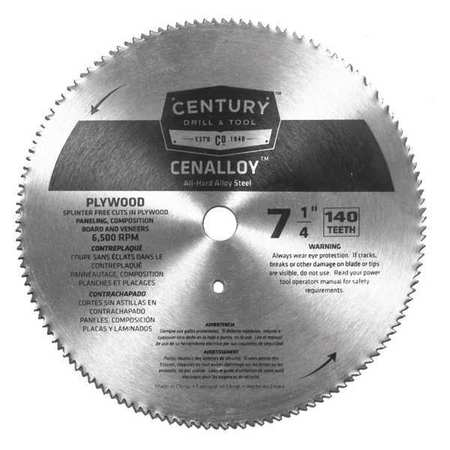 "7-1/4"",140-Teeth Plywood Circular Saw Blade CENTURY DRILL AND TOOL 08206"